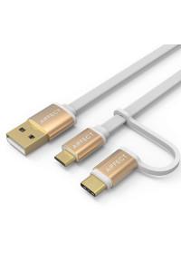 Кабель для быстрой зарядки 2 в 1 Type-C Micro USB AIFFECT AI-UMC2A1 1 м