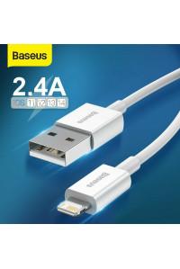 Кабель для iPhone 11 12 USB Lightning Baseus 2.4A White