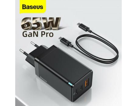Сетевое зарядное устройство Baseus GaN 2 PRO 65W Quick Charger + кабель Type-C PD 100W Black