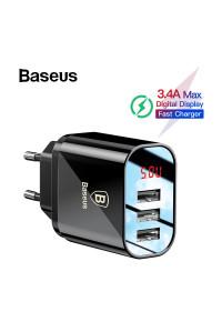 Зарядное устройство USB Baseus LED Display 3 USB 3.4A (NRT-DY035)