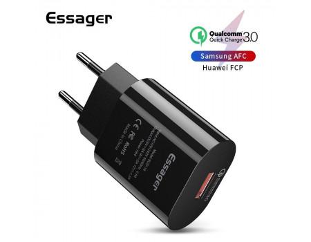 Сетевое зарядное устройство USB 18W Quick Charge 3.0 Essager ECTDK-XZB01-BK