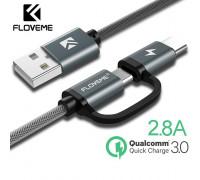 Кабель для быстрой зарядки 2 в 1 Type-C + Micro USB FLOVEME 80 см