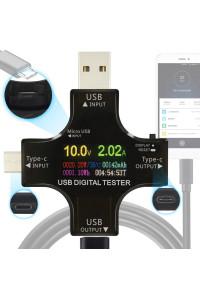 Цветной USB тестер J7-С, с поддержкой Type-C и Micro USB 3.6-32V 5.1А