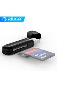 Картридер USB 3.0 для карт SD/ microSD ORICO CRS21-BK Поддержка карт до 2 ТБ