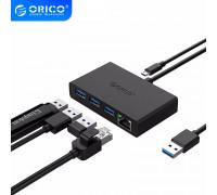 USB Ethernet адаптер Gigabit + хаб USB 3.0 Orico (G11-3UR)