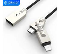 Кабель для быстрой зарядки 2 в 1 Micro USB Lightning 2.4A Orico (MLS-10)