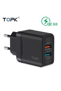 Зарядное устройство для телефона TOPK B244Q 2U BK 28W QC 3.0