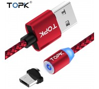 Магнитный кабель TOPK Micro USB R-Line1 Red
