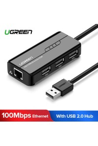 Ugreen 2 в 1 USB 2.0 хаб + сетевой адаптер Ethernet 100 Мбит/c LAN RJ45 (UG-20264)