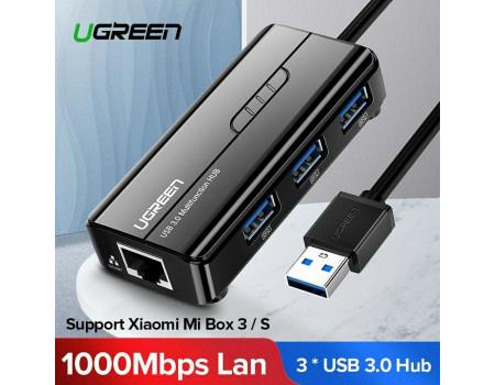 Ugreen 2 в 1 USB HUB 3.0 + сетевой адаптер USB 3.0 Gigabit Ethernet 1000 Мбит/c LAN RJ45 (UG-20265)