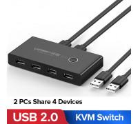 USB хаб свитч коммутатор KVM для 2 компьютеров Ugreen USB 2.0 (UG-30767)