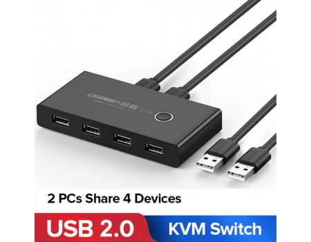 USB хаб свитч коммутатор KVM для 2 компьютеров Ugreen USB 2.0