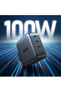 Быстрое зарядное устройство Ugreen GaN X 100W 3 Type-C+USB-A PD 3.0 QC4.0 Black