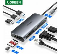 Док станция для MacBook Ugreen Type-C 9-в-1 Ethernet хаб USB 3.0 4K HDMI VGA PD 100W картридер