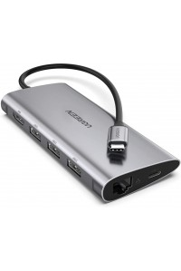 Ugreen Type-C 8-в-1 док станция USB 3.0 хаб HDMI Gigabit Ethernet картридер SD/TF PD 100W