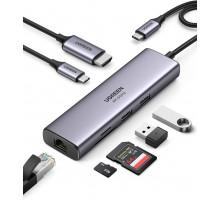 Хаб для Макбука 7-в-1 Ugreen USB C Gigabit Ethernet RJ45 LAN 4K@60Hz HDMI HDR PD 100W USB 3.0 OTG картридер