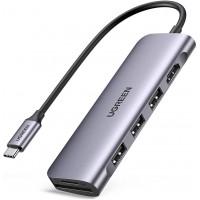 USB C хаб 6-в-1 Ugreen 4K HDMI 3 USB 3.0 картридер SD/TF для MacBook