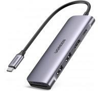 USB-C Хаб для Macbook 6-в-1 Ugreen USB 3.0 PD 100W 4K HDMI картридер SD/TF
