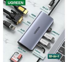 Ugreen USB C хаб док станция 10-в-1 Ethernet RJ45 HDMI 4K VGA PD 100W USB 3.0 картридер SD TF для MacBook