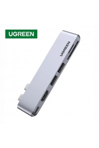 Ugreen USB C хаб адаптер 6-в-1 USB 3.0 HDMI PD 100W Thunderbolt 3 SD TF для Macbook
