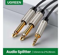 Аудио кабель 6.3 (6.5) 3.5 мм TRS TS Hi-Fi Ugreen Gray (UG-AV126)