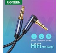 Кабель AUX 3.5 mm на 3.5 mm угловой 90 градусов Hi-Fi нейлон Ugreen (UG-AV139)