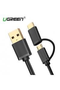 Кабель для быстрой зарядки 2 в 1 Type-C Micro USB Ugreen US142 BK