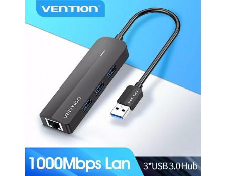 USB Ethernet адаптер RJ45 + хаб 3.0 Vention (CHNBB)