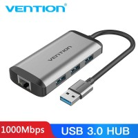 2 в 1 USB Gigabit Ethernet адаптер LAN RJ45 + хаб USB 3.0 Vention (CKBHB)