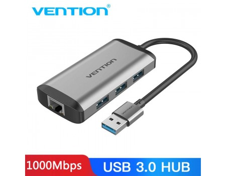 2 в 1 USB Gigabit Ethernet адаптер 1000 Мбит/с LAN RJ45 + хаб USB 3.0 Vention (CKBHB)