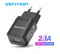 Сетевое зарядное устройство USB 5V 2.1A 10.5W Vention (Black)