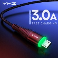 Кабель Micro USB YKZ Black Quick Charge c LED-подсветкой