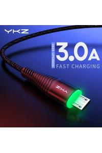 Кабель Micro USB YKZ Black Quick Charge c LED-подсветкой