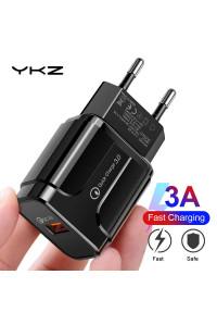 Сетевое зарядное устройство USB YKZ QC 3.0 18W (LZ-023 BK)